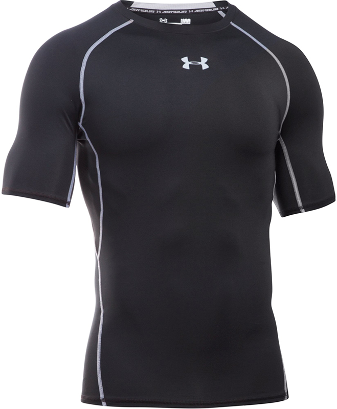Under Armour Heren HeatGear� Armour Korte Mouw Compressie Shirt Zwart