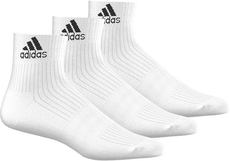 adidas 3-Stripes Performance Enkelsokken 3 Paar, Wit, 43-46, Male, Training