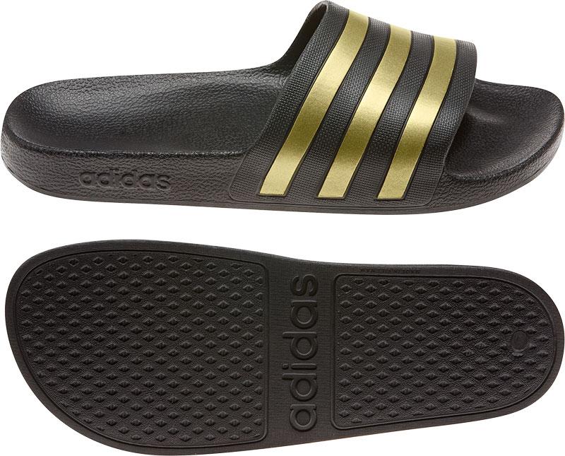 adidas performance Adilette Aqua badslippers zwart-goud